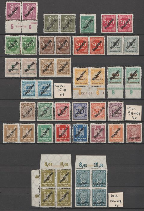 Det tyske keiserrike 1923/1944 - Selection of official stamps - Michel 75/88, 99/113, 130x/131x, 132/143, 155/165, 166/177