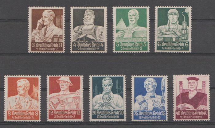 Impero tedesco 1934 - Emergency aid 'Professions' - Michel 556/564