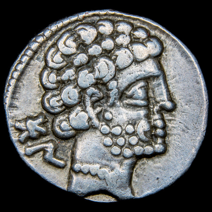 Römische Republik - Ancient Hispania - Bolskan (actual Huesca) Denarius - Minted in the II century B.C. Spearhorseman. - Silber