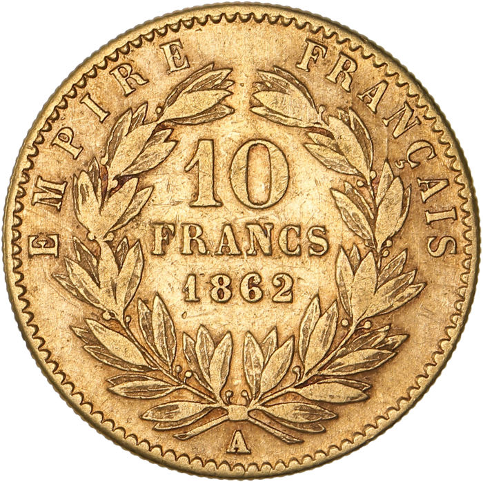 France - 10 Francs 1862-A Napoléon III - Or