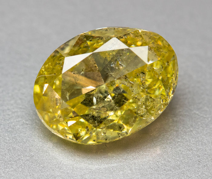 Diamant - 1.01 ct - Natural Fancy INTENSE Yellow - I1  *NO RESERVE*