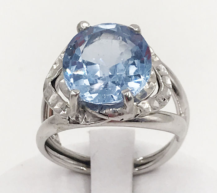 18 kt. White gold - Ring - 9.25 ct Topaz