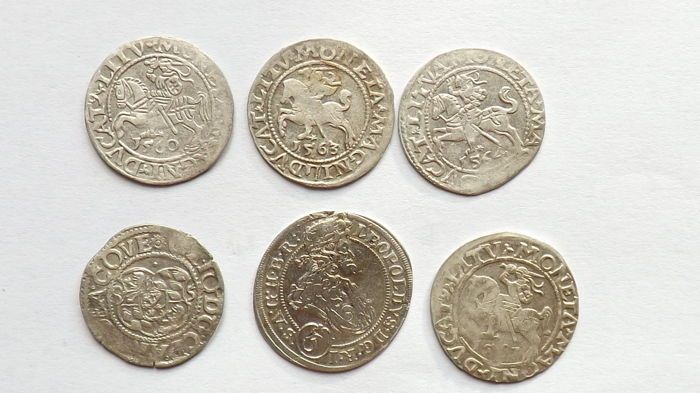 Germany - Prussia, Hongrie, Pologne - Lot various coins 1560/1696 (6 pieces)  - Argent