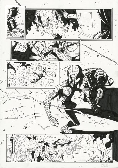 Spider-Man Vol 1 #202 (UK) - Original art page by Andie Tong and Kris Justice - First edition - (2010)