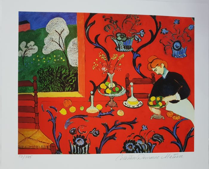 """Henri Matisse - """"The Red Room"""" 1908. Signed. Cetificate"""