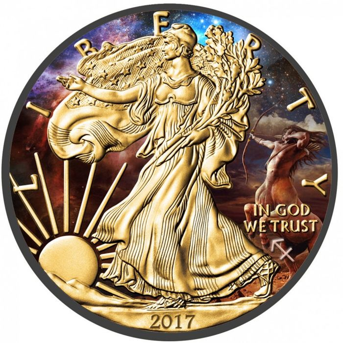 "USA - 1 Dollar 2017  ZODIAC SERIES ""SAGITTARIUS"" Golden Noir Series - With Certificate & Seal 1 Oz - Silver"
