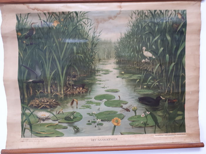 "L. Dorsman czn.K.M. Knip en A. Mellink - J.B. Wolters N.V. Groningen Batavia - School Plate ""The lake"" (1) - linen between sticks"