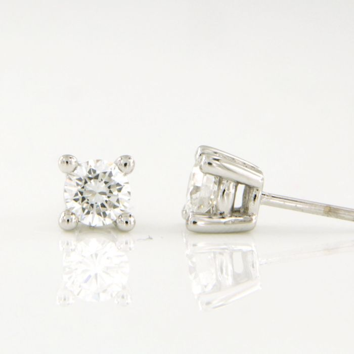 14 kt. White gold - Earrings - 0.65 ct Diamond