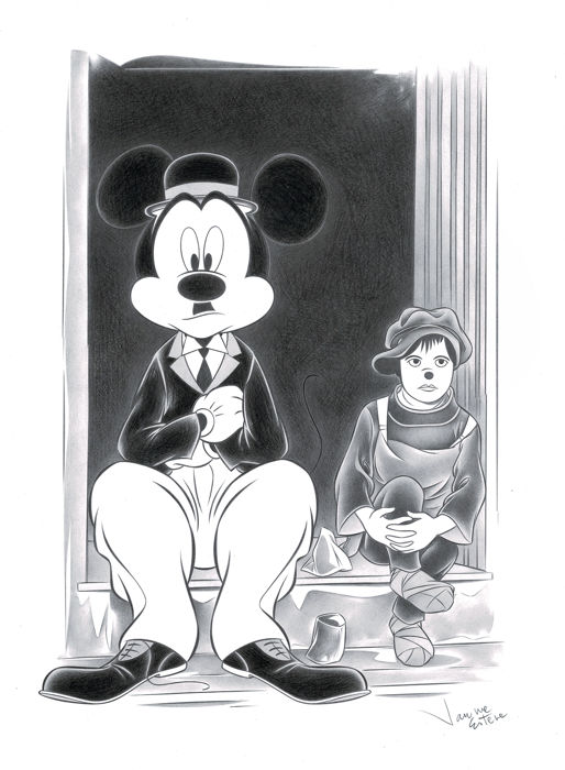 "Mickey After Chaplin in ""The Kid"" - Original Drawing - Jaume Esteve - Potlood kunst"