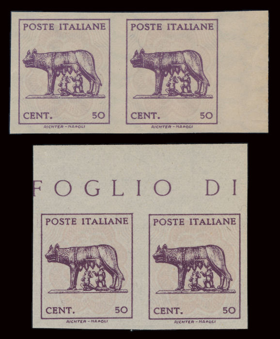 Italy Lieutenancy 1943 - Capitoline she-wolf, Naples issue, 2 rare imperforate pairs sheet edge - Sassone N 515L
