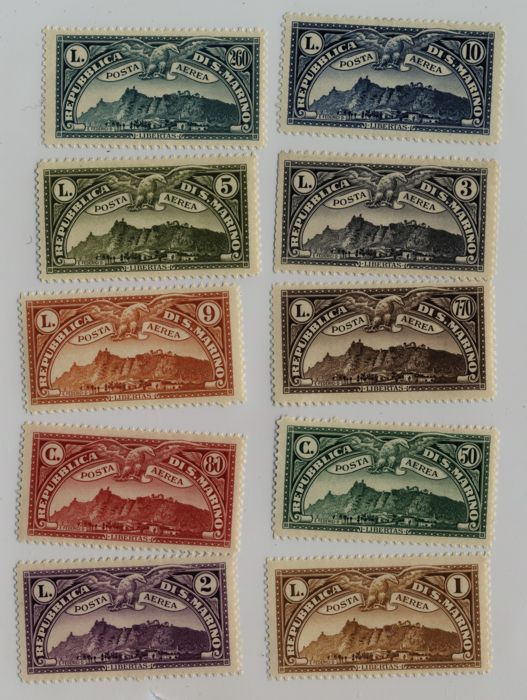 San Marino 1931 - Airmail views complete set of 10 stamps MH - Sassone 1-10