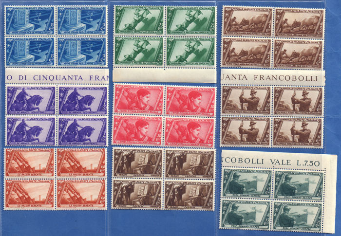 Italy 1932 - Kingdom - March on Rome complete set 20v. in beautiful blocks of four MNH - Sassone S.66