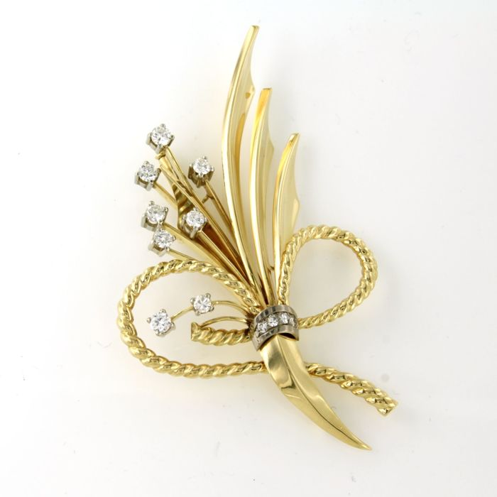 18 kt. White gold, Yellow gold - Brooch - 1.00 ct Diamond