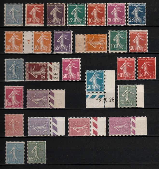 France 1902/1931 - Set of Semeuse, lined and solid background - Yvert Entre les n°132 et 234
