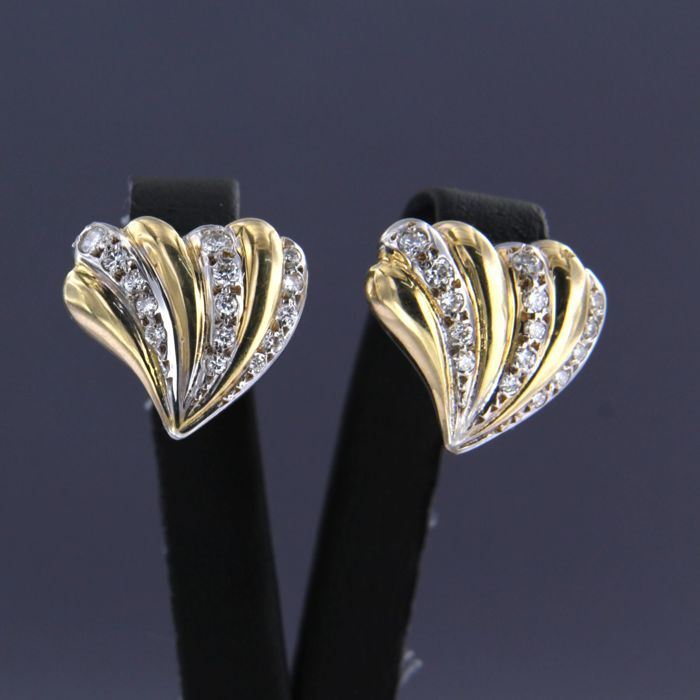 18 quilates Oro amarillo, Oro blanco - Pendientes - 1.00 ct Diamante