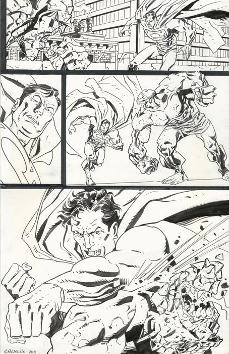 Superman - Original art page by Giancarlo Caracuzzo - First edition - (2011)