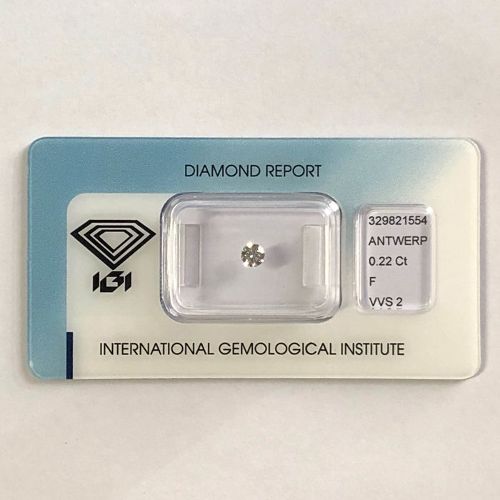 1 pcs Diamond - 0.22 ct - Brilliant - F - VVS2