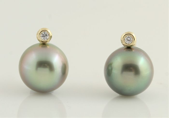 NO RESERVE PRICE - 14 carats Or Jaune - Perles de Tahiti 9x10mm - Boucles d'oreilles - 0.04 ct