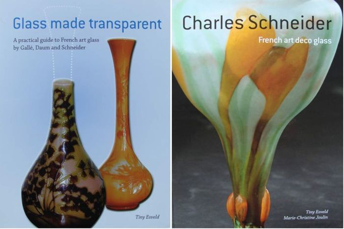 2 Books : Charles Schneider, French Art Deco Glas  &   A guide to French glass by Gallé, Daum and - 2 boeken