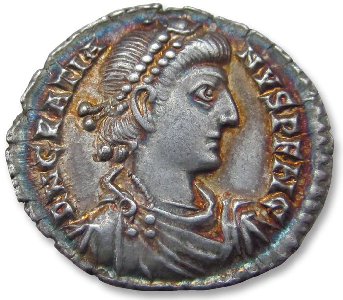 Roman Empire - AR Siliqua, Gratian / Gratianus. Treveri (Trier) mint 375-378 A.D. - TRPS (2nd or 6th officina) exquisite irridescent toning - Silver
