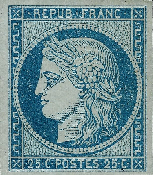 France 1850 - Ceres 25 cents blue superb quality - Yvert 4