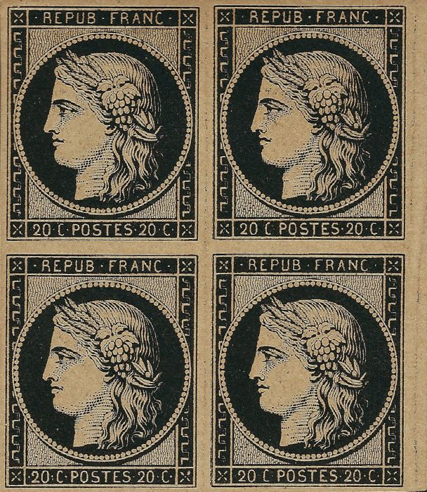 France 1849 - Ceres 20 cents deep black on yellow, block of 4 - Yvert 3h