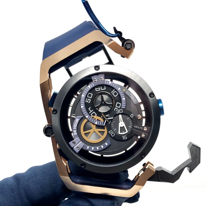 Mazzucato - RIM Rose Gold Reversible Automatic AND Chronograph Rose Gold - Blue - 02-BLCG6 - Homem - brand new