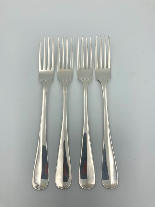Four silver dinner forks, model Dutch Smooth - .833 silver - E.L. Tulleners, Leeuwarden - Netherlands - 1850-1874