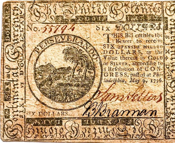 USA - Continental Currency - 6 Dollars 9.5.1776 - Pick S136 - Fourth Issue