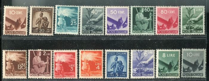 "Italy Republic 1945/1948 - ""Democratic"" regular set - Sassone 543-565"