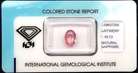 1 pcs Rosa Safir - 1.42 ct