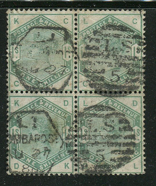 Great Britain - England 1883 - 1 shilling dull green BLOCK OF FOUR - Stanley Gibbons 196