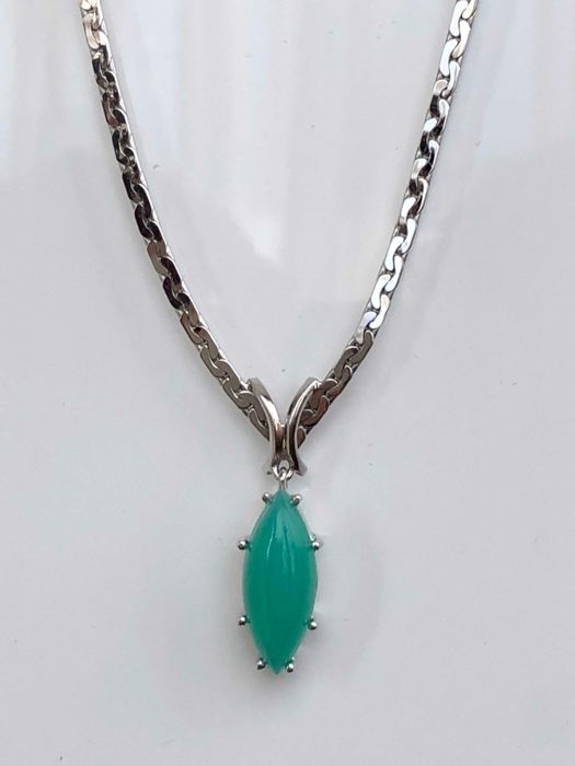 18 kt. White gold - Necklace with pendant Chrysoprase