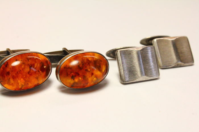 Used, Fischland, Jowel - 835 e 900 Silver and amber - 2 pairs of cufflinks for sale  London