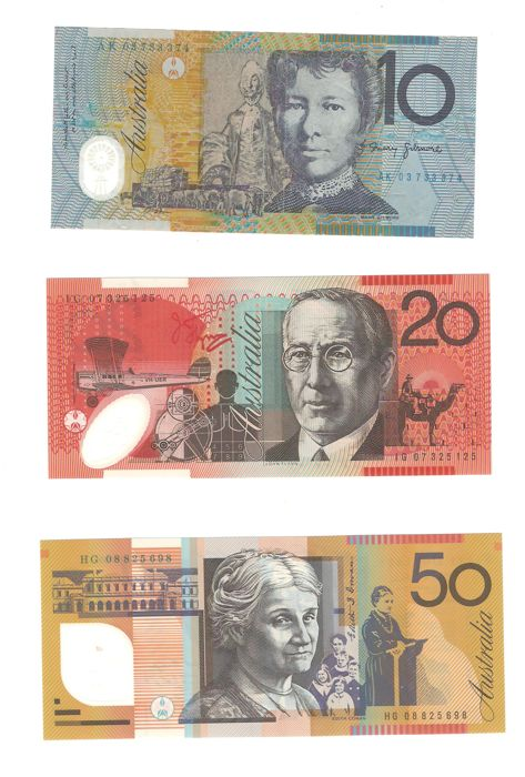 Australia - 1, 2, 5, 10, 10, 20 and 50 dollars - various dates