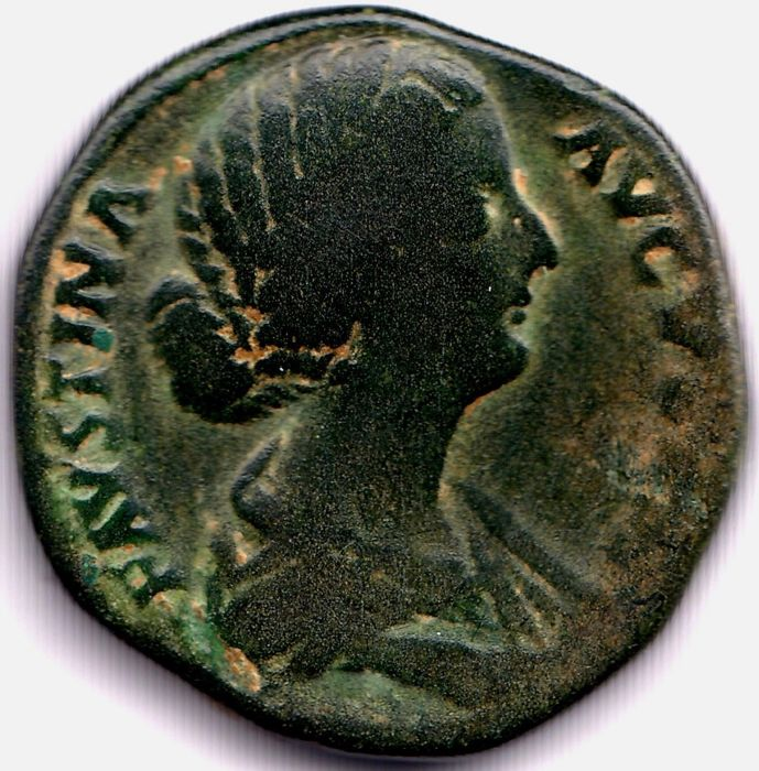 Roman Empire - AE Sestertius, Faustina II (Augusta, AD 146-175) - Cybele seated right