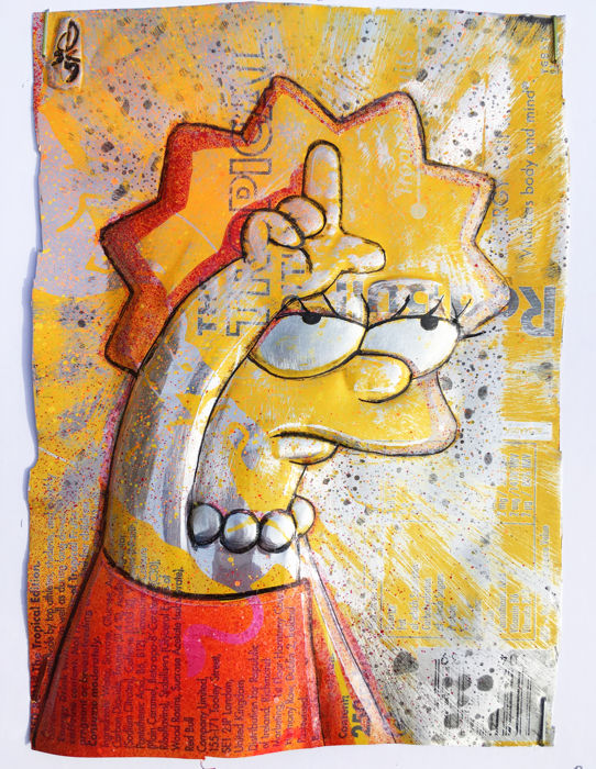 ComicCAN - ORIGINAL Artwork -Chris Duncan - LISA SIMPSON on Tropical Red Bull can   - Other - (2018/2019)