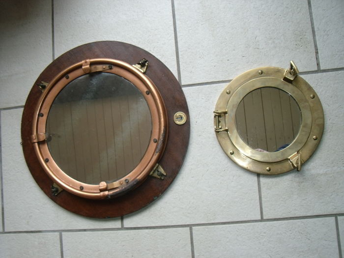 Portholes Mirrors (2) - copper and brass