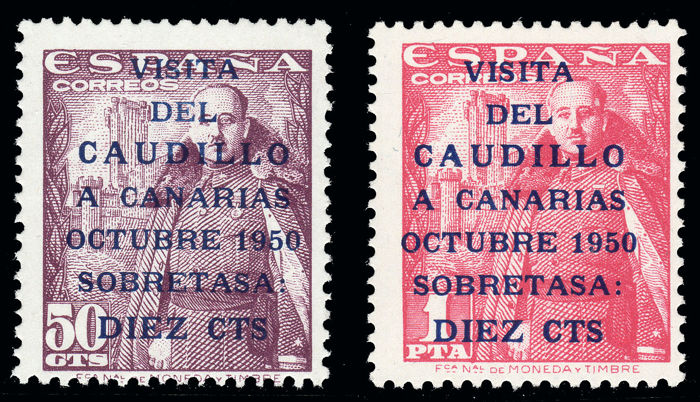 Spain 1951 - 'Visita del Caudillo a Canarias' (visit of Franco to the Canary Islands). Surface post - Edifil 1088/1089