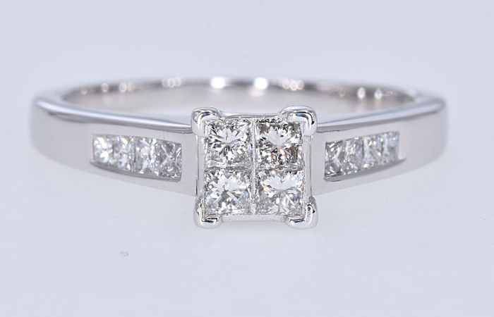 White gold - Ring - 1.04 ct Diamond
