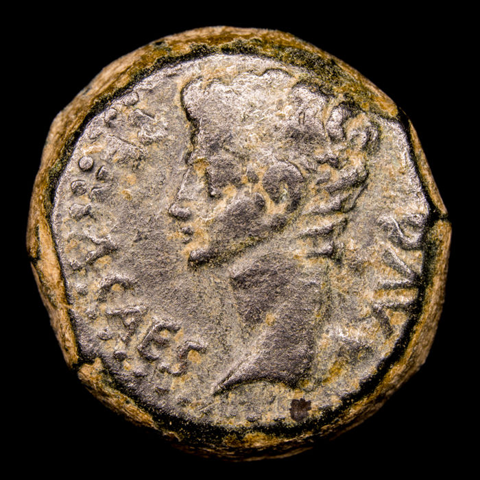 Roman Empire - Hispania, Julia Traducta (Cádiz). AE As, Augustus (27 BC. - 14 AD). 15-14 A.D. IVLIA/ TRAD