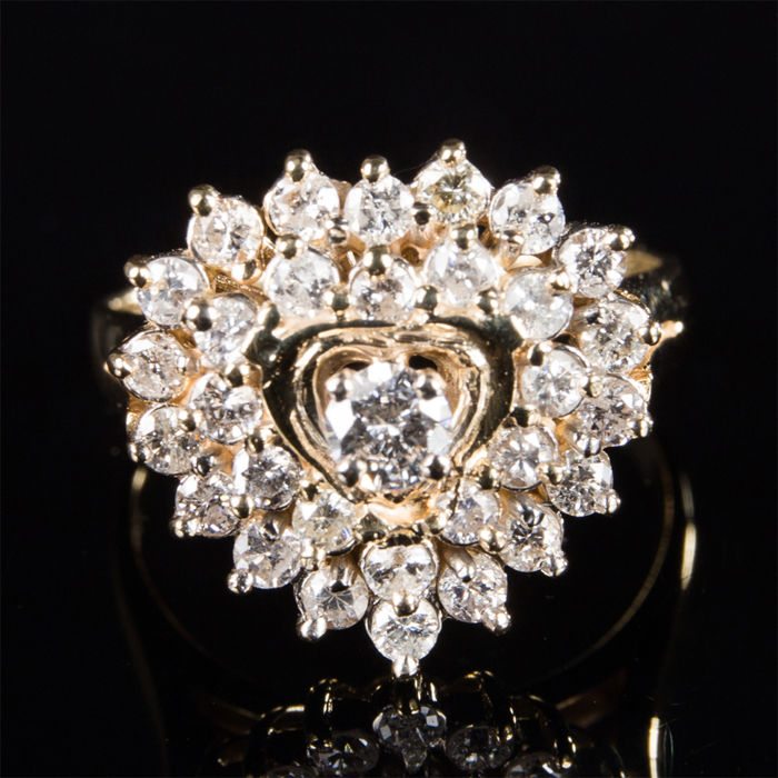 Handarbeit - 14 quilates Oro amarillo - Anillo - 1.39 ct Diamante