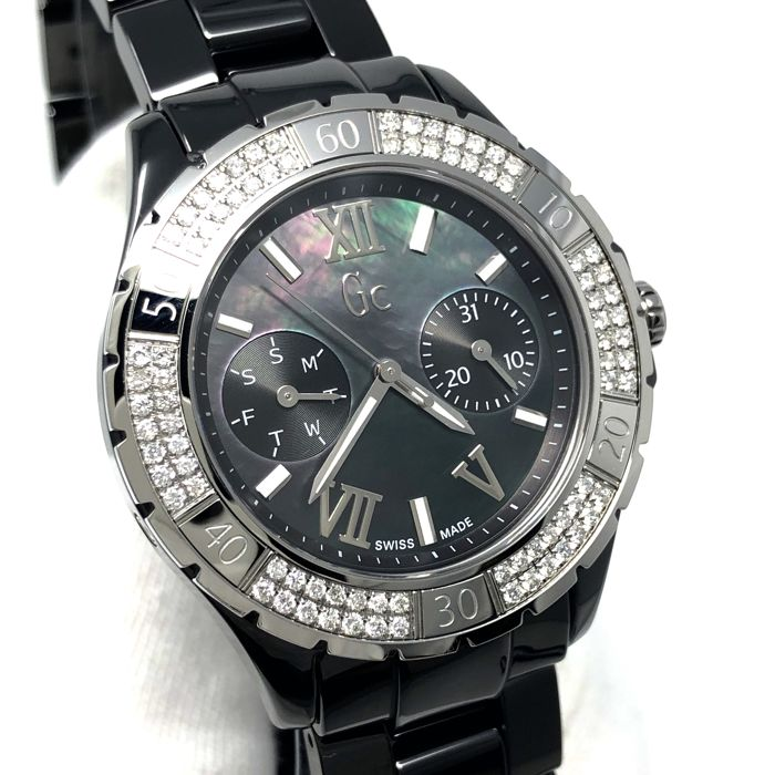 Guess Collection - 84 Diamonds Black Ceramic GC Precious Collection Sports Class Glam Swiss made - X69112L2S - Dames - 2011-heden