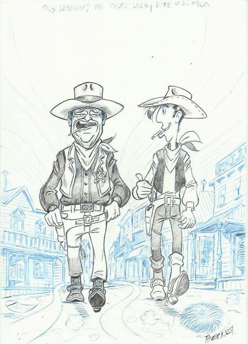 Bernat (Serrat, Bernardo) - Original drawing - Lucky Luke