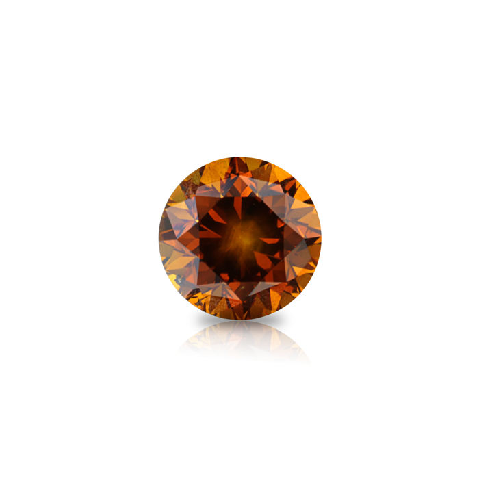 1 pcs Diamant - 0.82 ct - Rund - fancy vivid orange - SI2