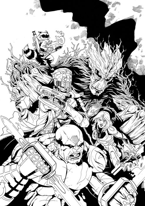 Marvel Guardians of the Galaxy - Guardians of the Galaxy original artwork By Juanma Aguilera - Loose page - First edition - (2018/2018)