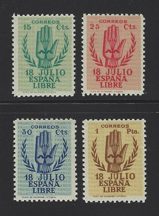 Spain 1938 - Spanish Coup of July 1936 complete set - Edifil 851/54