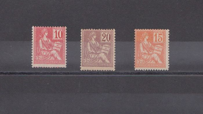 France 1900 - Mouchon stamps - Yvert 112-113-117