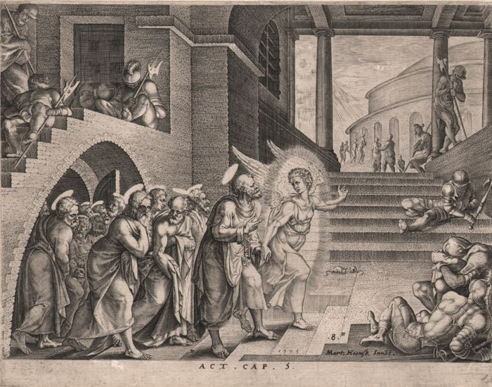 Maarten van Heemskerck (1498-1574) - The apostles delivered out of prison - Rare first state - Philips Galle