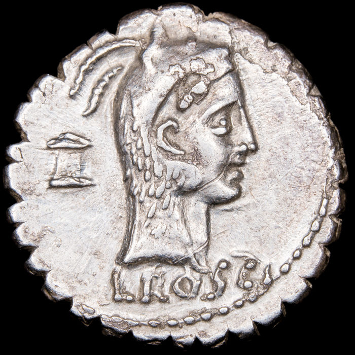 République romaine - Denarius - L. Roscius Fabatus. Rome mint, 64 B.C. - Girl with serpent. FABATI - Argent